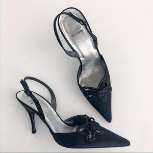 Stuart Weitzman Black Satin Sling Back Shoes 9